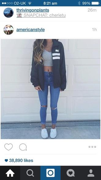 jacket nike black navy grey nike jacket jeans grey t-shirt crop tops