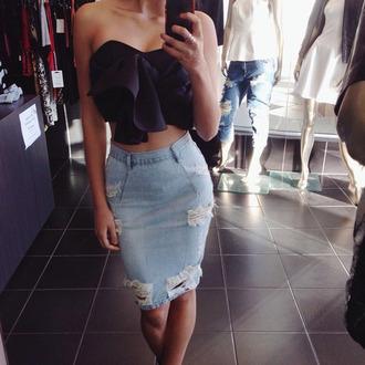 blouse skirt blue jean pencil skirt black bow crop top