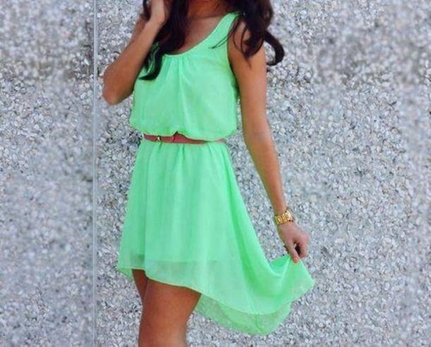dress green green dress cute high low dress short