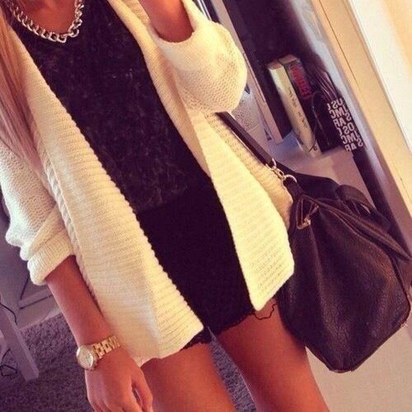 shorts black white black and white gold jewelry shirt blouse bag sweater
