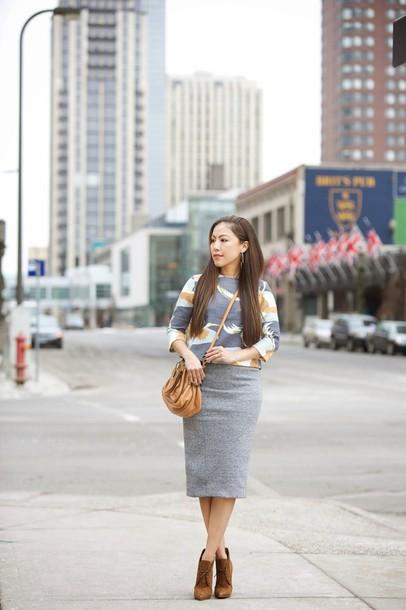 wearing fashion fluently blogger blouse skirt bag