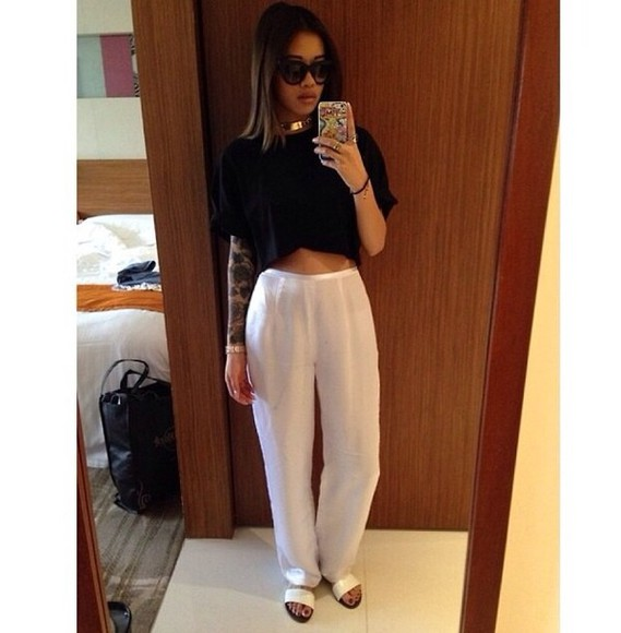 pants tattoos black white pants crop tops