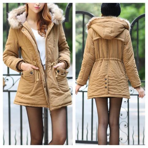 Camel fur hooded parka coat jacket