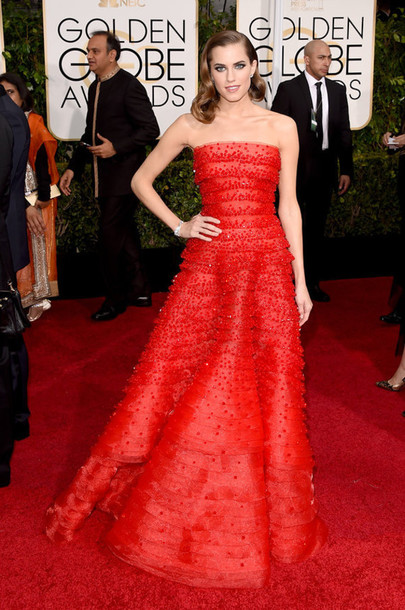 dress allison williams red dress red carpet dress Golden Globes 2015