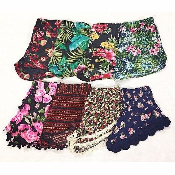shorts cute hip hippie hipster indie tumblr tumblr girl tumblr shorts instagram floral flowered shorts floral black colorful