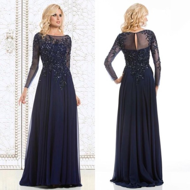 Dress: navy blue prom dress, long sleeve dress, lace dress ...