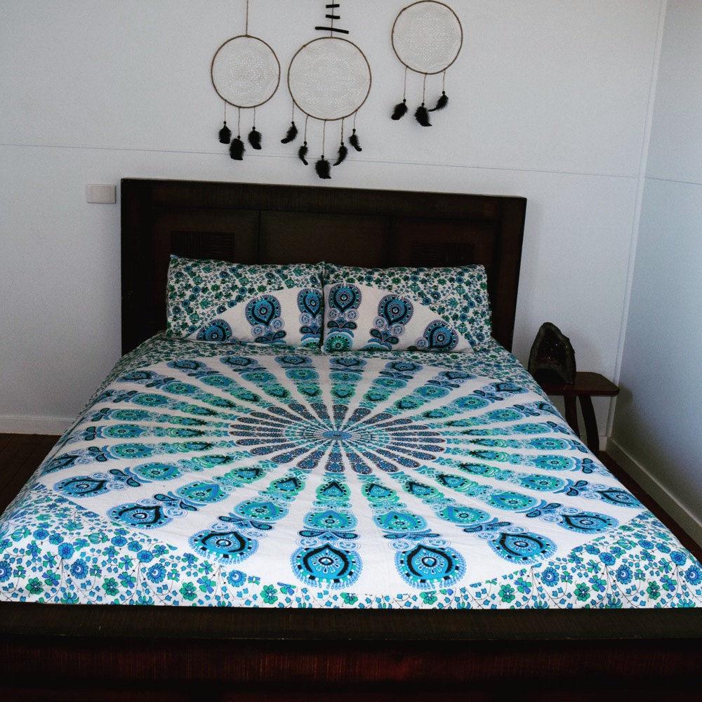 indian reversible duvet cover cotton handmade mandala quilt cover queen size