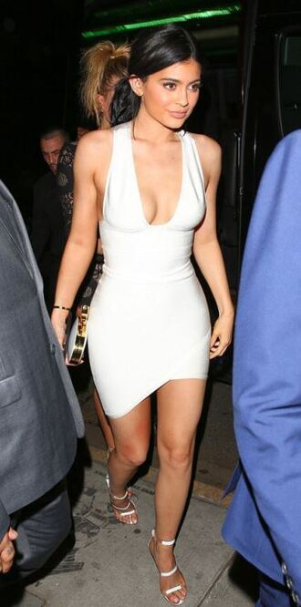 dress white white dress kylie jenner sandals sandal heels asymmetrical dress plunge dress amas 2015