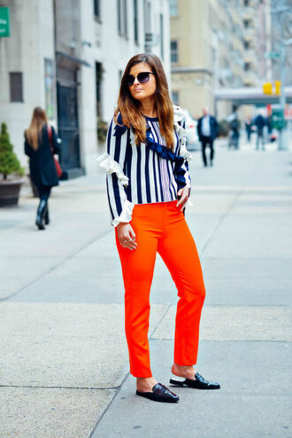 to be bright blogger sweater pants bag sunglasses orange pants loafers spring outfits ruffle sweater