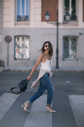 top sunglasses tumblr white top camisole bag black bag denim jeans blue jeans slingbacks shoes