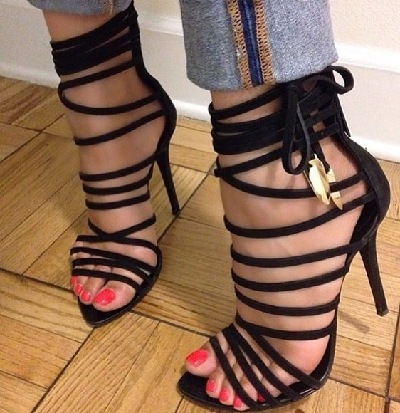 shoes high heels platforms black high heels laced heels sandals designer fashion