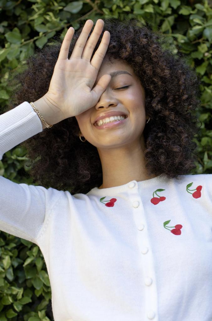 White Cherry Embroidered Laura Cardigan
