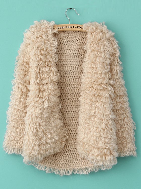 Khaki Long Sleeve Shaggy Slim Cardigan Sweater - Sheinside.com