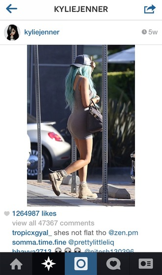 dress grey tank dress retro kylie jenner heather grey 90's style ankle boots grunge blue hair