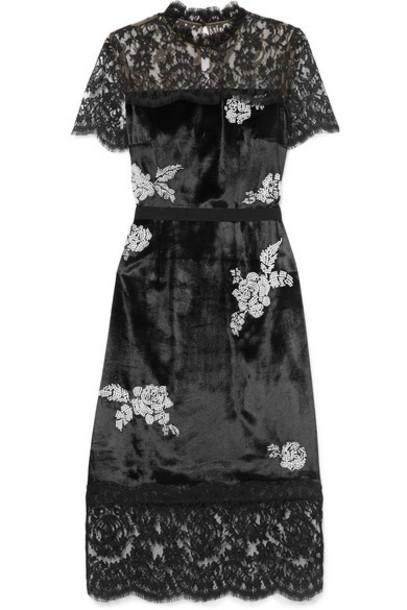 Erdem - Keni Lace-paneled Silk-faille Trimmed Faux Pearl-embellished Velvet Dress - Black