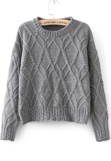 Grey Long Sleeve Cable Knit Sweater - Sheinside.com