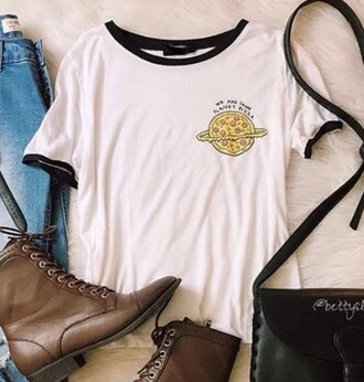 t-shirt pizza cool white shoes