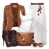 skirt,brown and white,cute skirt,shoes,boots,casual,first date,spring,too cute to care,movies,jacket,purse,bags and purses,chilly weather,everyday wear