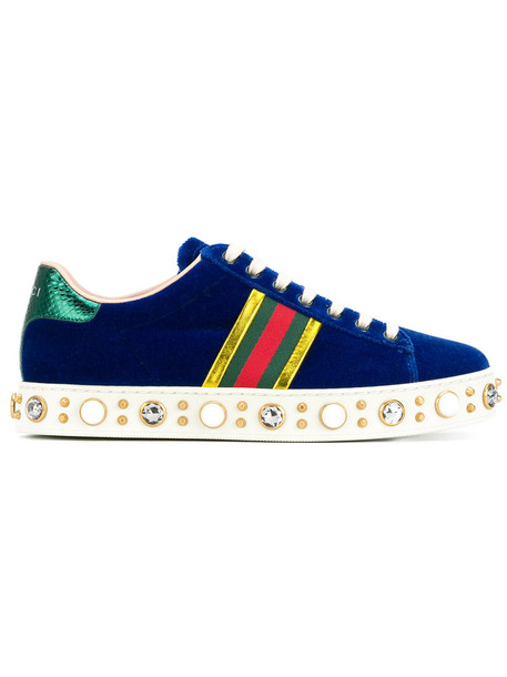 gucci women pearl embellished sneakers leather cotton blue shoes