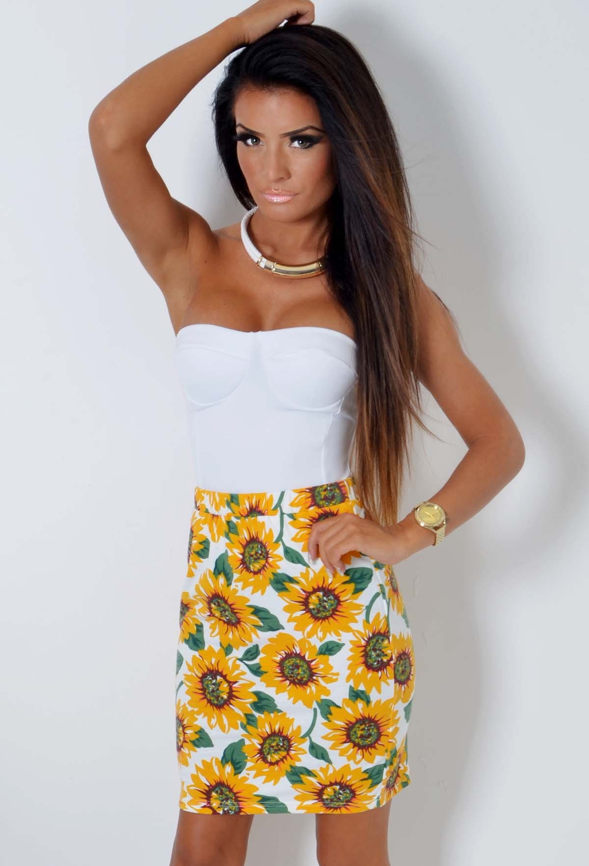 Sunny Sunflower Print Bodycon Midi Dress | Pink Boutique