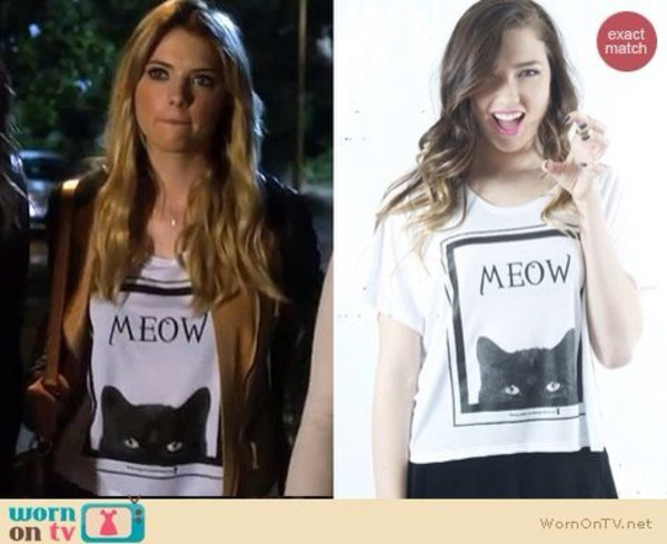 t-shirt cats hanna marin pretty little liars white t-shirt