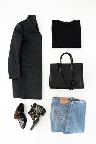 le fashion image blogger coat sweater bag jeans shoes