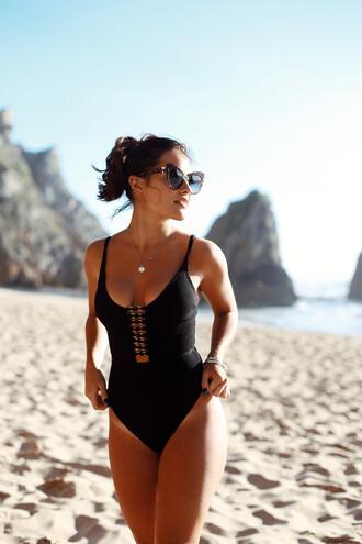 swimwear sunglasses tumblr one piece swimsuit black swimwear