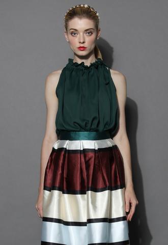 top elegant ruffles chiffon top in dark green chicwish chiffon top dark green top summer top chicwish.com