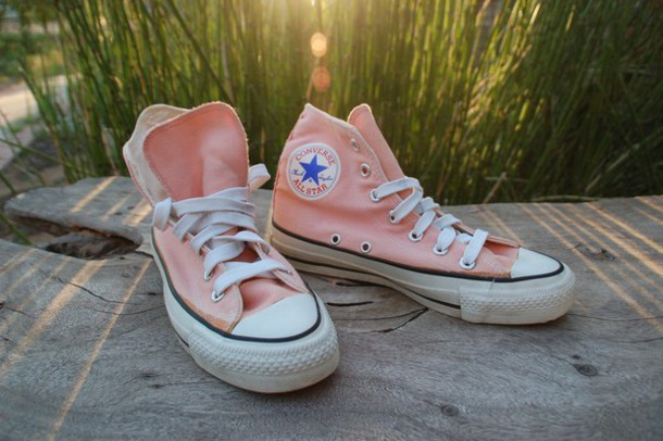 031edae71f98 shoes high top converse peach vintage shoes for her