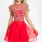 Unique a-line scoop cap sleeves beading short/mini chiffon prom dresses / homecoming dress [2015pc-1268] - $ 168.99 :