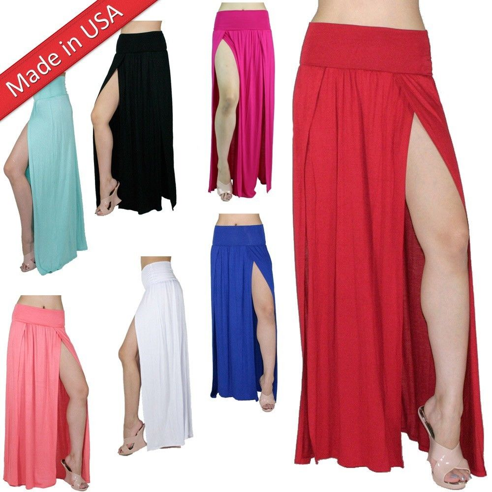 Double Slit Long Maxi Skirt High Banded Waist Full Length Two Split