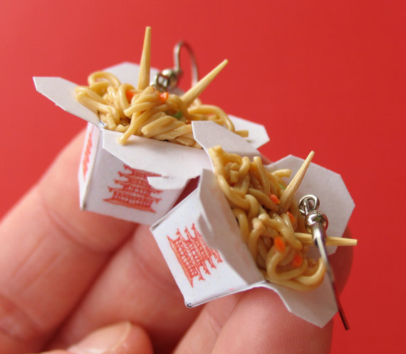 Chinese Lo Mein Take Out Earrings NICKEL FREE by Alittleawesome