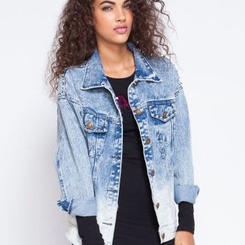 Wasteland Jackets & vests - ShopWasteland.com -  Oversized Spike Denim Jacket on Wanelo