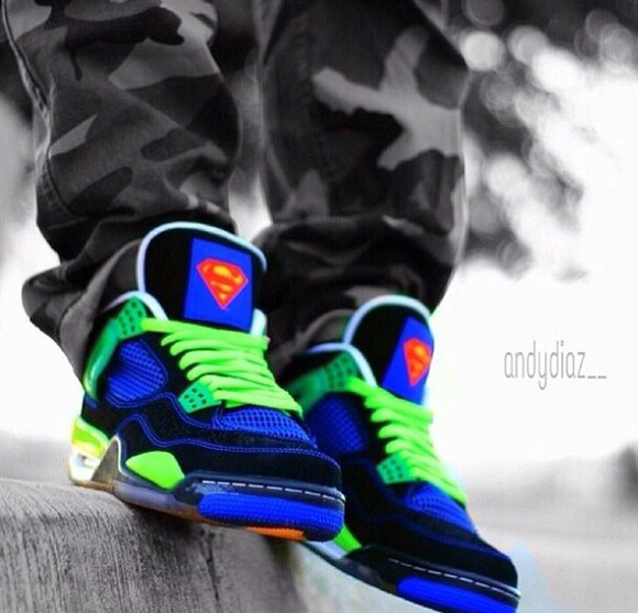 superman shoes white neon jordan green blue black yellow