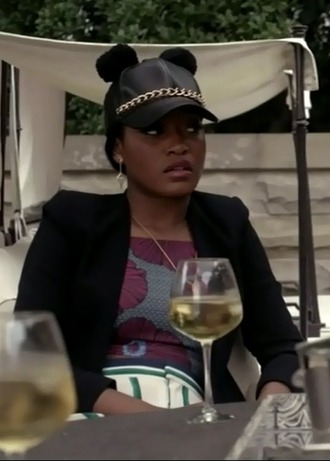 jacket zayday williams keke palmer scream queens crop top leather hat floral necklace black blazer jewels