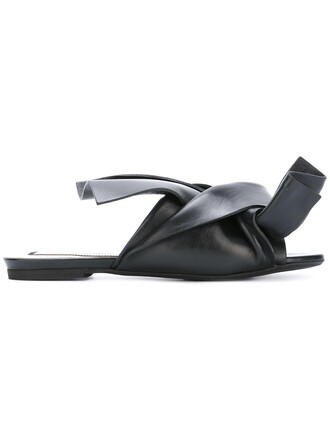 bow women sandals flat sandals leather black shoes