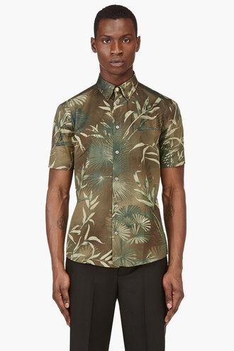 leaf shirt clothes green print menswear button downs