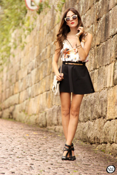 fashion coolture blogger tank top summer outfits black skirt top skirt sunglasses bag shoes