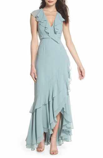 dress maxi prom summer wedding bridesmaid teal blue turquoise wrap wrap dress ruffle asymmetrical dress