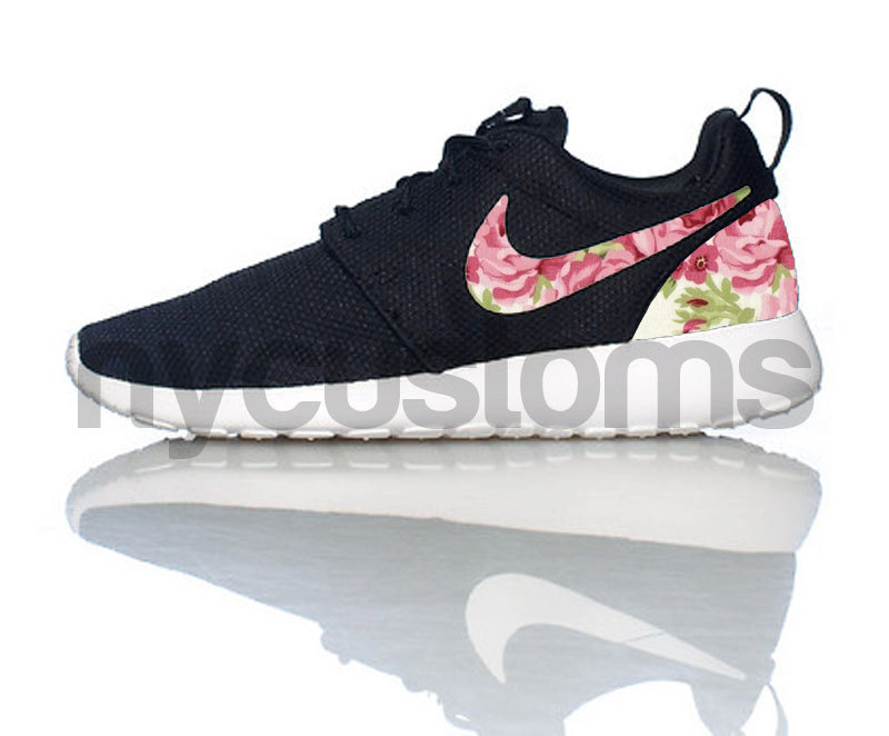 Free Shipping Nike Roshe Run Black White Rose Garden by NYCustoms