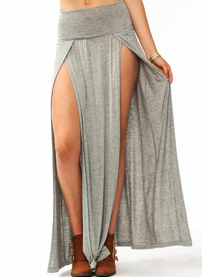 double-slit-maxi-skirt GREY ROYAL NAVY RED BURGUNDY OLIVE - GoJane.com