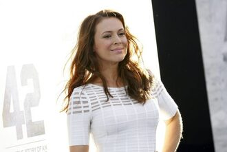 top t-shirt white white top alyssa milano event movie premiere actress