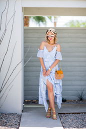late afternoon,blogger,dress,sunglasses,shoes,bag,jewels,sandals,high heel sandals,gold sandals,blue dress,maxi dress,summer dress,summer outfits,slit dress,off the shoulder dress,mirrored sunglasses,nude bag,chloe,chloe bag,hair accessory