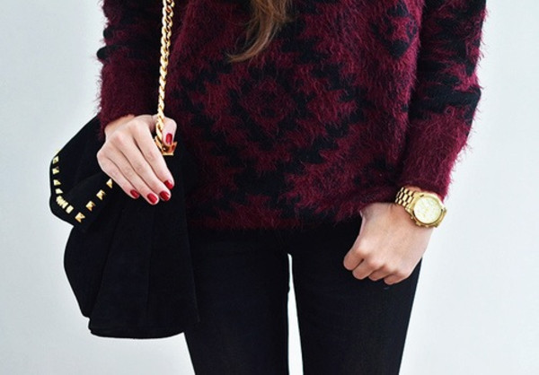 bag black bag sunglasses sweater black red pullover purple black pattern wool thick heavy burgundy stripes diamonds winter outfits fall outfits long sleeves large baggy elegant wine red soft warm classy burgundy