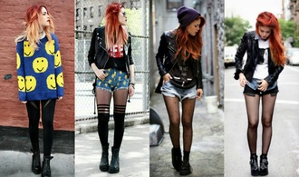shirt grunge style black colorful smiley jacket leggings tights stockings sweater