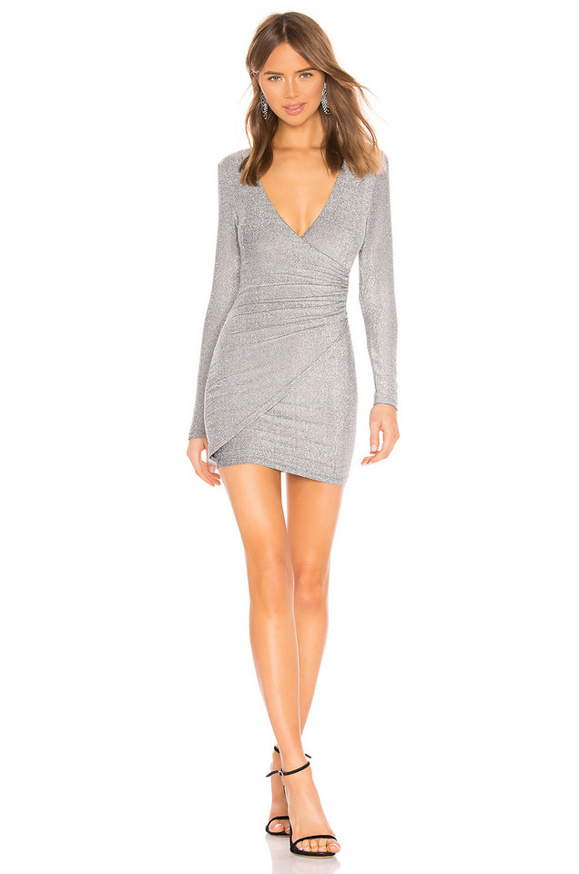 About Us Laurie Wrap Dress in metallic / silver