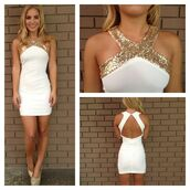 dress,homecoming,gold,white,bodycon,strappy,zipup,triangle,homecoming dress,short prom dress,shoes,white dress,glitter,cream,cream dress,open back dresses,short dress,bodycon dress,white and gold,gold sequins,gold and white dress,mini dress,neck,short,prom,prom dress,same color