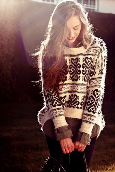 sweater knitted white black fluffy cosy