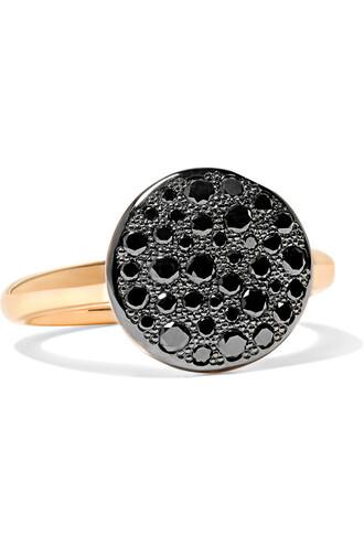 diamond ring rose gold rose ring gold black jewels