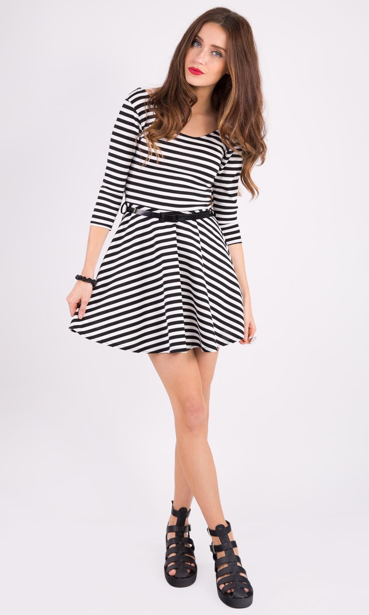 Hidden Fashion Womens Ladies Crop Sleeve Striped Print Skater Dresses with Belt | eBay